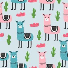 Seamless pattern. Cute. Lama. Scandinavian. Children's. Clothes, postcard. For your design.