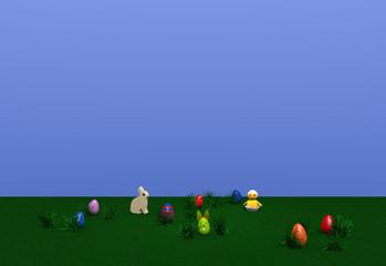 Osterlandschaft mit Häschen, Küken, bunten Eiern, Osterhasen und Grasbüscheln auf grüner wiese mit blauem Himmel. 3d render