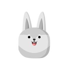 Cute Grey Wolf Animal Head Illustration