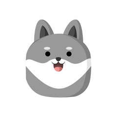 Cute Grey Dog Animal Head Illustration