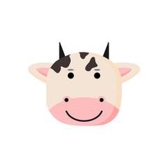Cute Cow Animal Head Illustration
