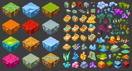 Isometric Game Landscape Icons Set
