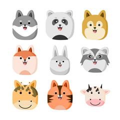 Cute Zoo Animal Head Illustration Design Set
