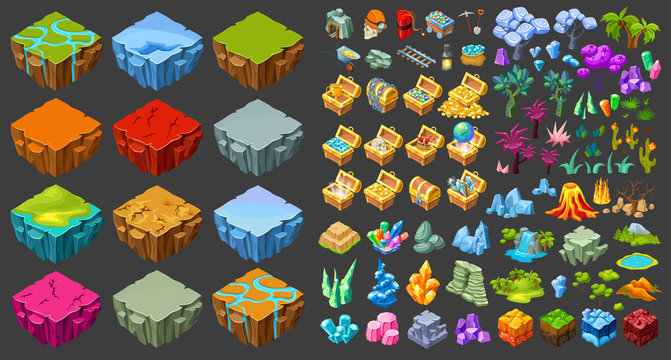 Isometric Game Landscape Icons Set