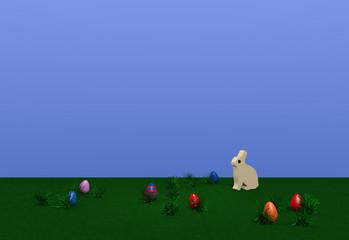 Osterlandschaft mit Häschen, bunten Eiern und Grasbüscheln auf grüner wiese mit blauem Himmel. 3d render
