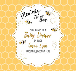 Baby shower invitation template with text Mommy to Bee, honey. Cute card design for girls boys
