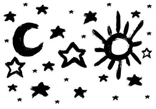 Brush Sun and moon, star.