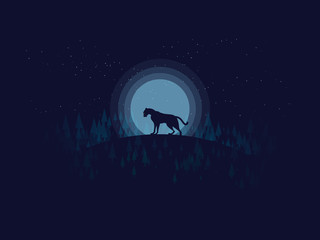 silhouette tiger(panther) in midnight with full moon background in pine forest