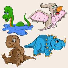 childrens illustration depicting little cubs of different dinosaurs