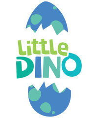 Little Dino Text With Hatched Dinosaur Egg Isolated on White Vector Illustration