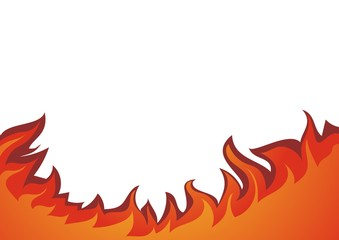 Fire flame vector illustration, isolated on white background.