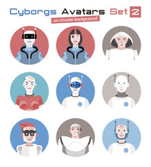 Cyborgs Avatars Set circular 2