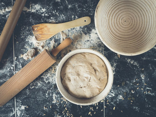 topview of kitchen utensils for baking your own bread