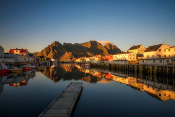 Wall Mural - Sunset at Henningsvaer on Lofoten islands