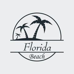Icono plano Florida beach en fondo gris