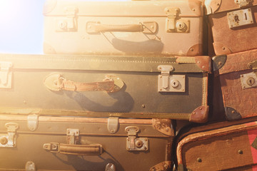 vintage suitcase   - stack of old  suitcase