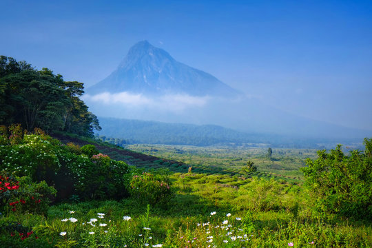 Breakfast at luxury camp overlooking a volcano in the Virunga National Park in the Democratic Republic of Congo, Africa