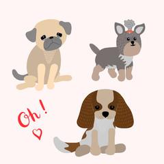 Set of cartoon puppies. Flat style.