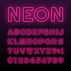 Purple neon tube alphabet font. Neon color letters, numbers and symbols. Stock vector typeface for any typography design.