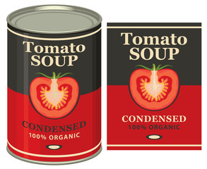 Vector illustration of tin can with a label for the condensed tomato soup with the image of a cut tomato