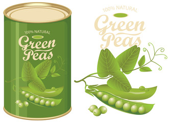 Vector illustration of green tin can with a label for canned green peas with the realistic image of pea pods, tendrils and leaves and calligraphic inscription