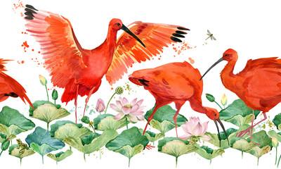 tropical bird watercolor seamless pattern