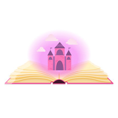 Open book with magical dust and fairy castle.