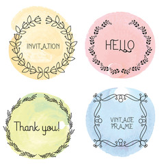 Handdrawn wreaths wedding floral wreaths design elements for invitations greeting cards
