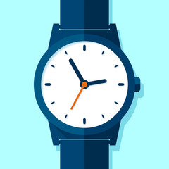 Wrist Watch icon in flat style. Hand Clock on blue background. Business timer. Vector design element for you project