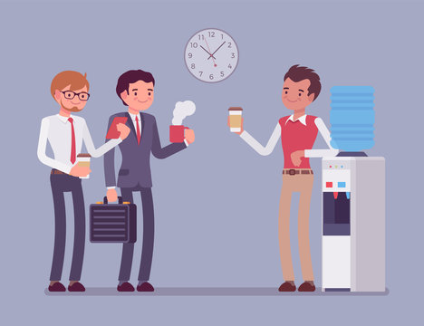 Office male cooler chat