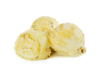 Three balls of vanilla-banana ice cream