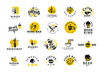 Collection of vector flat food and alcohol logo set isolated on white background. Hand drawn food elements, dish icons. Good for restaurant, cafe, catering bars & fast food insignia banners, symbols.
