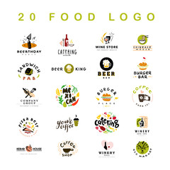 Collection of 20 vector flat meal, fast food, coffee and alcohol logo and icons set isolated on white background. Hand drawn dish elements. Good for restaurant, cafe, catering, bars insignia banners.