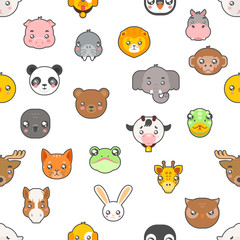 Seamless pattern Isolated animals cute baby cartoon cubs flat design head icons set character vector illustration