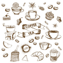Cup of coffee and coffee beans. Hand drawn vector background in vintage style.