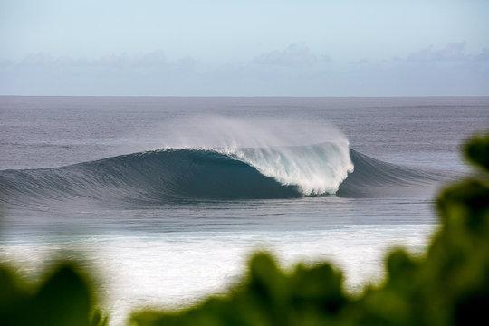 Large dangerous wave breaking on a reef in hawaii, banzai pipeline