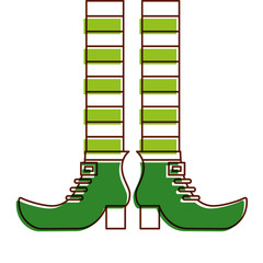green legs and shoes of leprechaun vector illustration