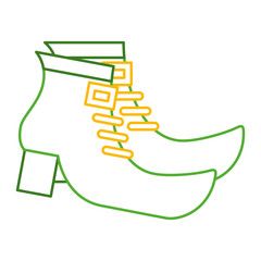 pair green boot shoes of leprechaun vector illustration line color design