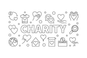 Charity horizontal illustration - vector outline banner