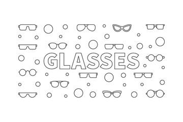 Glasses outline horizontal illustration. Vector concept banner