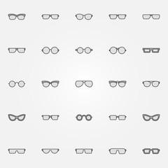 Gray glasses icons set - vector sunglasses design elements