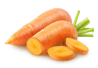 Group of carrots. Whole and cut carrot, slices isolated on white background with clipping path