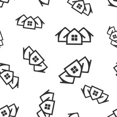 House seamless pattern background icon. Flat vector illustration. Home sign symbol pattern.