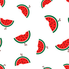 Watermelon seamless pattern background icon. Business flat vector illustration.  Juicy ripe watermelon fruit sign symbol pattern.