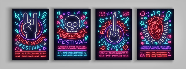 Rock Festival set of posters in neon style. Collection neon sign, an invitation to the concert brochure on roknrol music, bright banner, flyer for festivals, parties and concerts. Vector illustration Fototapete