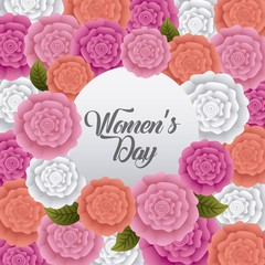happy womens day card decorative carnation flowers celebration