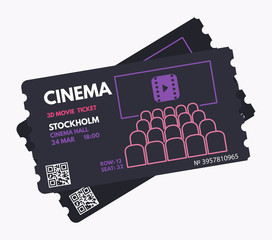 Cinema ticket template. Dark, black color design with white, purple and pink text. Movie theater. Pass or coupon template.