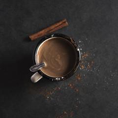 Vintage mug of hot cocoa with cinnamon sticks