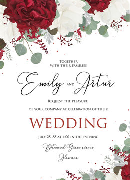 Wedding floral invite, invitation save the date card design with red burgundy and white rose flowers, seeded eucalyptus branches, leaves, marsala amaranthus elegant decoration. Vector modern template
