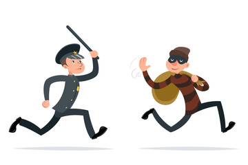 Thief Escape Loot Policeman Run Character Retro Cartoon Design Vector Illustration